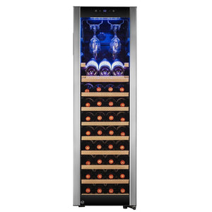 "AKDY WC0076 46 Bottle Wine Cooler 15.75"" Wide Single Zone Free Standing Stainless Steel Black - AKDY - 46 Bottles"