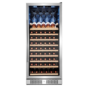 "AKDY WC0078 59 Bottle Wine Cooler 23.5"" Wide Single Zone Free Standing Stainless Steel Black - AKDY - 59 Bottles"