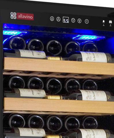 "Image of Allavino 115 Bottles Allavino YHWR115-1BR20 Wine Refrigerator 24"" Wide 115 Bottle Vite II Single Zone Black"