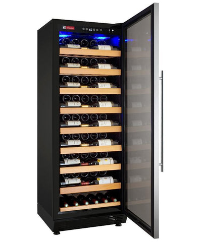 "Allavino 115 Bottles Stainless Steel Allavino YHWR115-1BR20 Wine Refrigerator 24"" Wide 115 Bottle Vite II Single Zone Black"