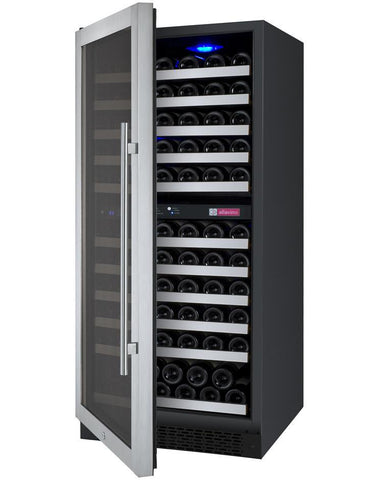 "Allavino 121 Bottles Left Allavino VSWR121-2SL20 Wine Refrigerator 24"" Wide 121 Bottle FlexCount II Series Dual Zone Stainless Steel"
