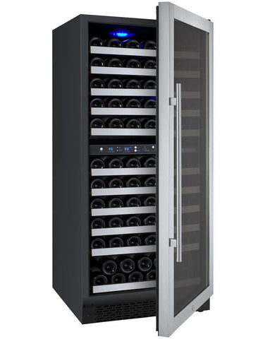 "Allavino 121 Bottles Right Allavino VSWR121-2SL20 Wine Refrigerator 24"" Wide 121 Bottle FlexCount II Series Dual Zone Stainless Steel"