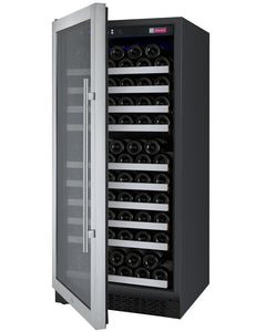 "Allavino 128 Bottles Left Allavino VSWR128-1SL20 Wine Refrigerator 24"" Wide 128 Bottle FlexCount II Series Single Zone Stainless Steel"