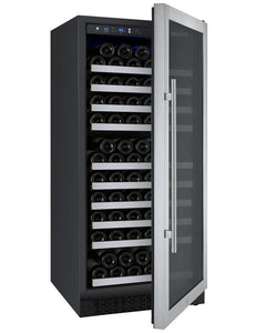 "Allavino 128 Bottles Right Allavino VSWR128-1SL20 Wine Refrigerator 24"" Wide 128 Bottle FlexCount II Series Single Zone Stainless Steel"