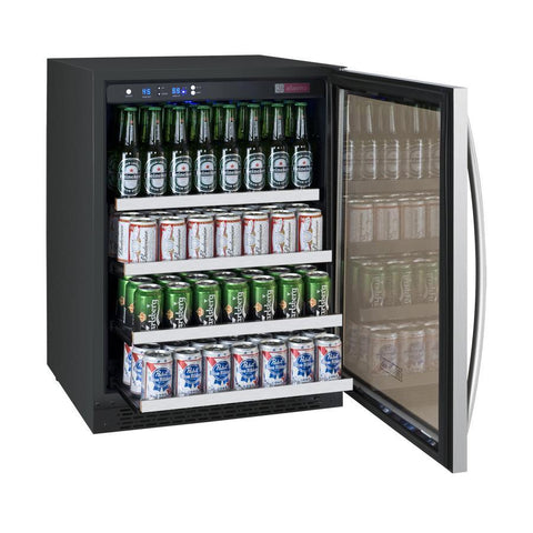"Image of Allavino 154 12oz Cans Allavino VSBC24-SL20 Beverage Center 24"" Wide FlexCount II Tru-Vino Stainless Steel Left Hinge"
