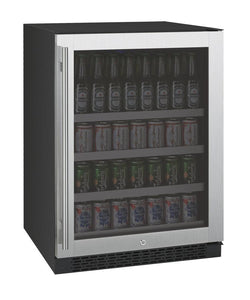 "Allavino 154 12oz Cans Left Allavino VSBC24-SL20 Beverage Center 24"" Wide FlexCount II Tru-Vino Stainless Steel Left Hinge"