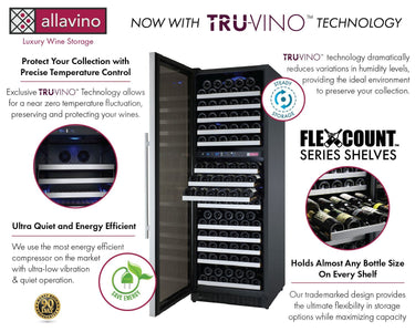 "Allavino 172 Bottles Allavino VSWR172-2SL20 Wine Refrigerator 24"" Wide 172 Bottle FlexCount II Series Dual Zone Stainless Steel"