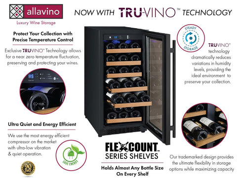 "Image of Allavino 30 Bottles Right Allavino VSWR30-1BR20 Wine Cooler 15"" Wide 30 Bottle FlexCount II Series Single Zone"