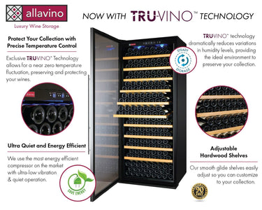 "Allavino 305 Bottles Allavino YHWR305-1SR20 Wine Refrigerator 32"" Wide 305 Bottle Vite II Tru-Vino Single Zone Stainless Steel"