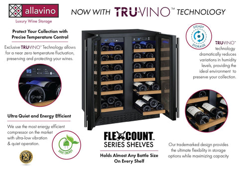 "Allavino 36 Bottles Allavino VSWR36-2BF20 Wine Refrigerator 24"" Wide 36 Bottle FlexCount II Series Dual Zone Black"