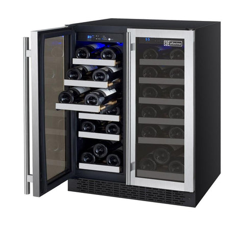 "Allavino 36 Bottles Stainless Steel Allavino VSWR36-2BF20 Wine Refrigerator 24"" Wide 36 Bottle FlexCount II Series Dual Zone Black"