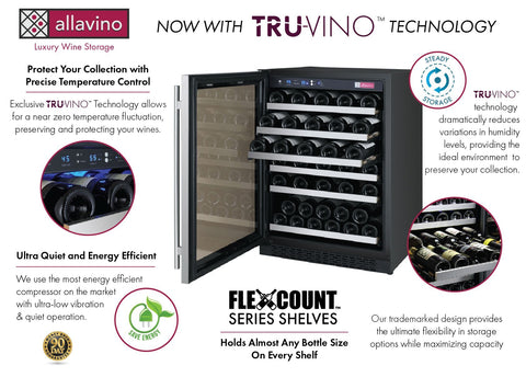 "Image of Allavino 56 Bottles Allavino VSWR56-1SL20 Wine Refrigerator 24"" Wide 56 Bottle FlexCount II Series Single Zone Stainless Steel"