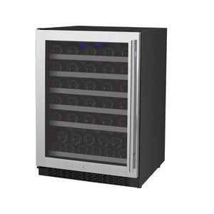 "Allavino 56 Bottles Allavino VSWR56-1SL20 Wine Refrigerator 24"" Wide 56 Bottle FlexCount II Series Single Zone Stainless Steel"