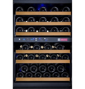 "Allavino 56 Bottles Allavino VSWR56-2BL20 Wine Refrigerator 24"" Wide 56 Bottle FlexCount II Series Dual Zone Black"