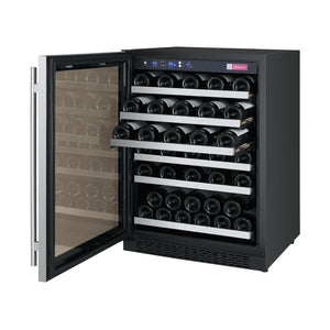 "Allavino 56 Bottles Left Allavino VSWR56-1SL20 Wine Refrigerator 24"" Wide 56 Bottle FlexCount II Series Single Zone Stainless Steel"
