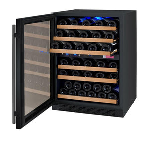 "Allavino 56 Bottles Left Allavino VSWR56-2BL20 Wine Refrigerator 24"" Wide 56 Bottle FlexCount II Series Dual Zone Black"