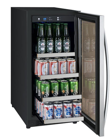 "Allavino 88 12oz Cans Allavino VSBC15-SL20 Beverage Center 15"" Wide FlexCount II Tru-Vino Stainless Steel Left Hinge"