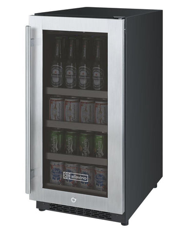 "Image of Allavino 88 12oz Cans Allavino VSBC15-SL20 Beverage Center 15"" Wide FlexCount II Tru-Vino Stainless Steel Left Hinge"