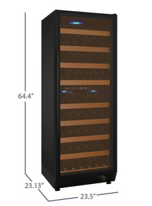 "Allavino 99 Bottles Allavino YHWR99-2BR20 Wine Refrigerator 24"" Wide 99 Bottle FlexCount II Series Dual Zone Black"