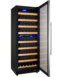 "Allavino 99 Bottles Stainless Steel Allavino YHWR99-2BR20 Wine Refrigerator 24"" Wide 99 Bottle FlexCount II Series Dual Zone Black"