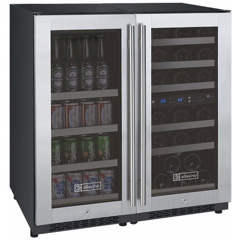 Image of Allavino3Z-VSWB15-3SST  Flexcount Dual Zone Beverage Center and Wine Cooler - Allavino - 30 Bottles