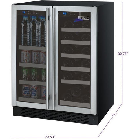 Image of Allavino VSWB-2SSFN 18 Bottle FlexCount Series Refrigerator/Beverage Wine Cooler - Allavino - 18 Bottles