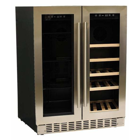 "Image of Azure A124DZ-S Dual Zone Wine Center- 20 Bottles 24"" Wide with Dual SS Trim Glass Door - Azure - 20 Bottles"