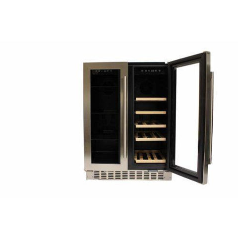 "Azure A124DZ-S Dual Zone Wine Center- 20 Bottles 24"" Wide with Dual SS Trim Glass Door - Azure - 20 Bottles"