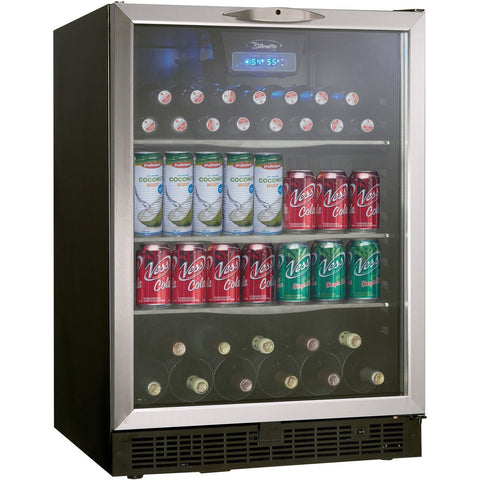 "Danby  DBC514BLS Wine Center 11 Bottles 24"" Wide, 112 Beverage Cans Single Zone- Black/Stainless - Danby - 11 Bottles"