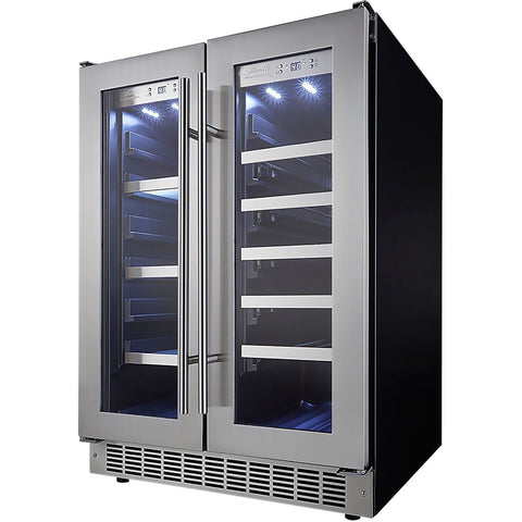 Image of Danby DBC047D3BSSPR Beverage Center 21 Wine Bottle 4.7 CuFt Built-In Dual Zone w/ Stainless Steel French Doors - Danby - 21 Bottles
