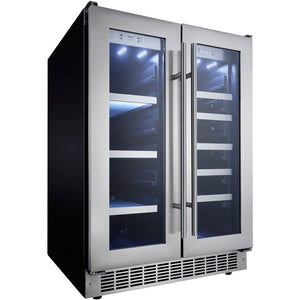 Danby DBC047D3BSSPR Beverage Center 21 Wine Bottle 4.7 CuFt Built-In Dual Zone w/ Stainless Steel French Doors - Danby - 21 Bottles