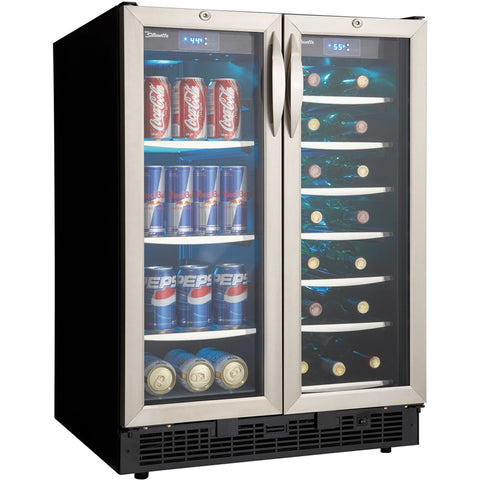 "Image of Danby DBC2760BLS  Wine Center 27 Wine Bottles 27"" Wide Dual Zone Silhoutte 5.3 CF w/ Stainless Steel French Doors - Danby - 27 Bottles"