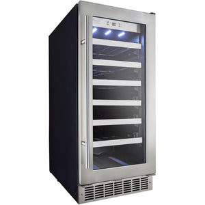 "Danby DWC031D1BSSPR Wine Cooler 34 Bottles 15"" Wide Built-In Single Zone w/ Low-E Tempered Glass Silhouette - Danby - 34 Bottles"