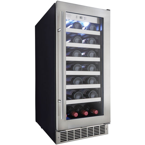 "Image of Danby DWC031D1BSSPR Wine Cooler 34 Bottles 15"" Wide Built-In Single Zone w/ Low-E Tempered Glass Silhouette - Danby - 34 Bottles"