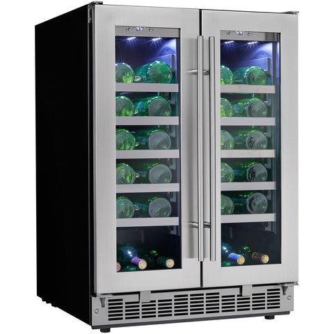 Danby  DWC047D1BSSPR Energy Efficient Wine Cooler 41 Bottles Built-In Dual Zone French Door w/ Low-E Tempered Glass Door Silhouette - Danby - 42 Bottles