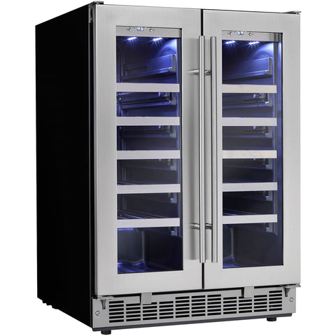 Image of Danby  DWC047D1BSSPR Energy Efficient Wine Cooler 41 Bottles Built-In Dual Zone French Door w/ Low-E Tempered Glass Door Silhouette - Danby - 42 Bottles