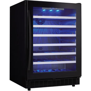 "Danby  SSWC056D1B-S Wine Cooler 48 Bottles 24"" Wide Single Zone Built In Black Onyx Finish - Danby - 48 Bottles"