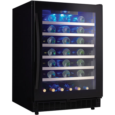 "Image of Danby  SSWC056D1B-S Wine Cooler 48 Bottles 24"" Wide Single Zone Built In Black Onyx Finish - Danby - 48 Bottles"
