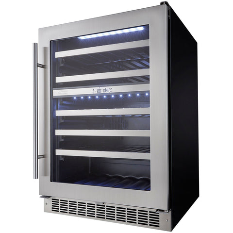 "Image of Danby  DWC053D1BSSPR Built In Wine Cooler 51 Bottles 24"" Wide Dual Zone Stainless Steel Low-E Glass Door Glass - Danby - 51 Bottles"