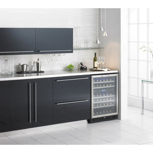 "Danby  DWC518BLS Built In Wine Cooler 51 Bottles 27"" Wide w/ Stainless Steel Frame Silhouette - Danby - 51 Bottles"