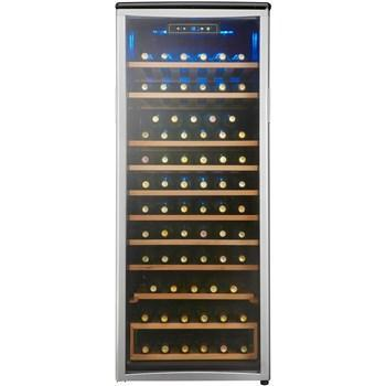 "Image of Danby DWC106A1BPDD Tall Wine Cooler  75 Bottles 24"" Wide Single Zone Platinum Door Trim, Black/Platinum - Danby - 75 Bottle"