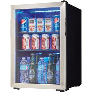 "Danby DBC026A1BSSDB  Beverage Center 2. CuFt 17.5"" Wide w/ Tempered Glass Door, Free Standing- Black/Stainless - Danby - 95 BC"