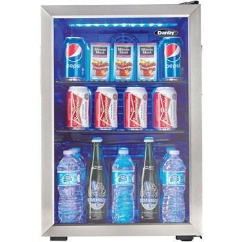 "Image of Danby DBC026A1BSSDB  Beverage Center 2. CuFt 17.5"" Wide w/ Tempered Glass Door, Free Standing- Black/Stainless - Danby - 95 BC"
