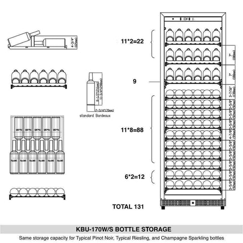"KingsBottle Wine Cooler KBU-170WX- 24"" Wide 166 Bottles Single Zone"