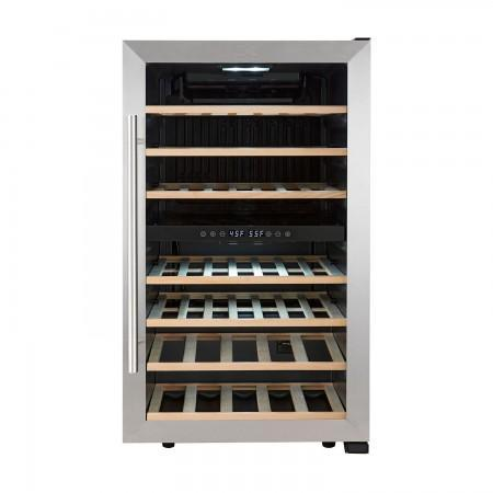 "Kalorik  WCL 44447 SS Wine Cooler 43 Bottles 19"" Dual Zone Stainless Steel Freestanding - Kalorik - 29 Bottles"