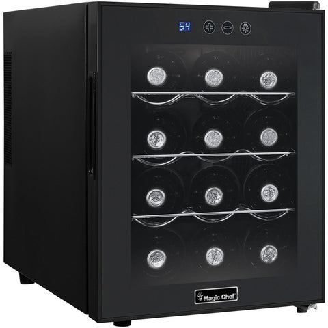 Magic Chef  MCWC12B Wine Cooler 12 Bottle 14.2 Wide Single Zone Black - Magic Chef - 12 bottles