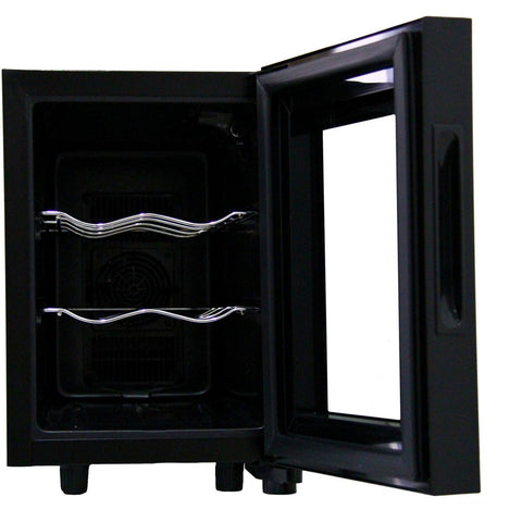 "Image of Magic Chef  MCWC6B 6 Wine Cooler Bottle 11"" Wide Single Zone Counter Top - Black - Magic Chef - 6 bottles"