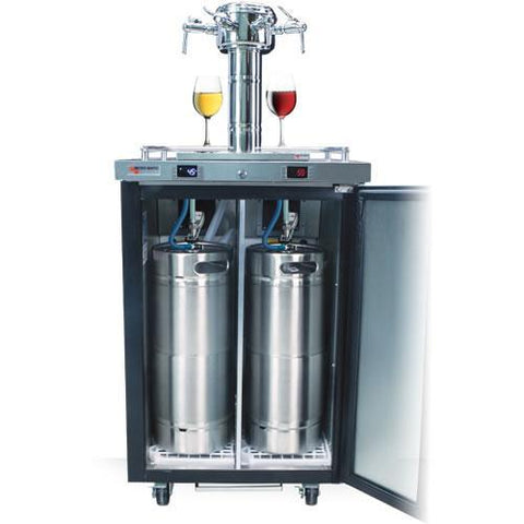 "Micro Matic MDD23W-E-B 25"" Wide 4 Keg Pro-Line Wine E-Series Dual Zone Insulated Wine Cooler Dispenser With 3 Finesse Faucets - Micro Matic - 4 Keg Dispenser"