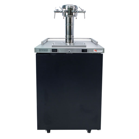 "Image of Micro Matic MDD23W-E-E 25"" Wide 4 Keg Pro-Line Wine E-Series Dual Zone Insulated Wine Cooler Dispenser With 4 Sommelier Faucets - Micro Matic - 4 Keg Dispenser"