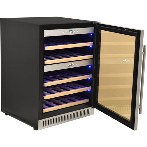 "Image of Omcan  WC-CN-0040-D Wine Cooler 40 Bottles 24"" Wide Dual Zone Under Counter with Digital LED Display - Omcan - 181 Bottles"